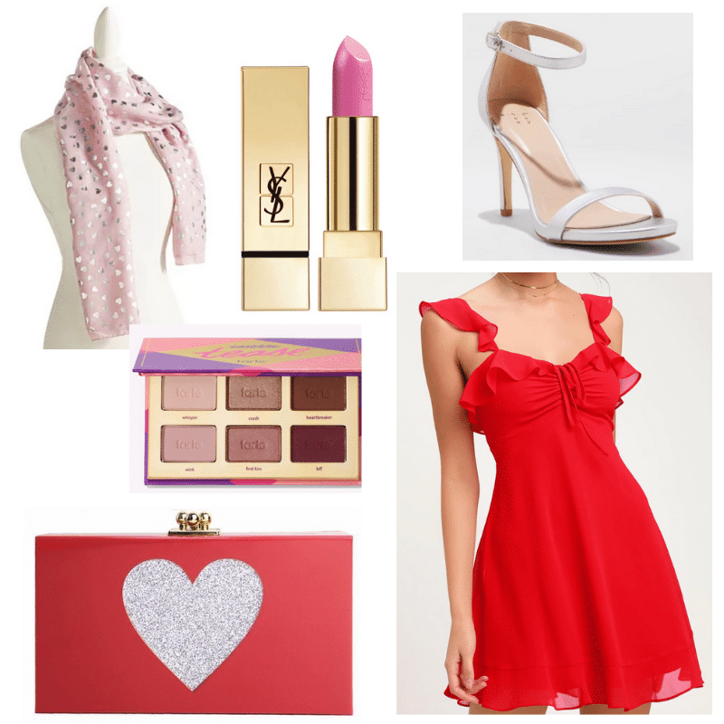 Hearts for Days Outfit with red dress, red clutch, silver metallic shoes, lipstick, pink scarf