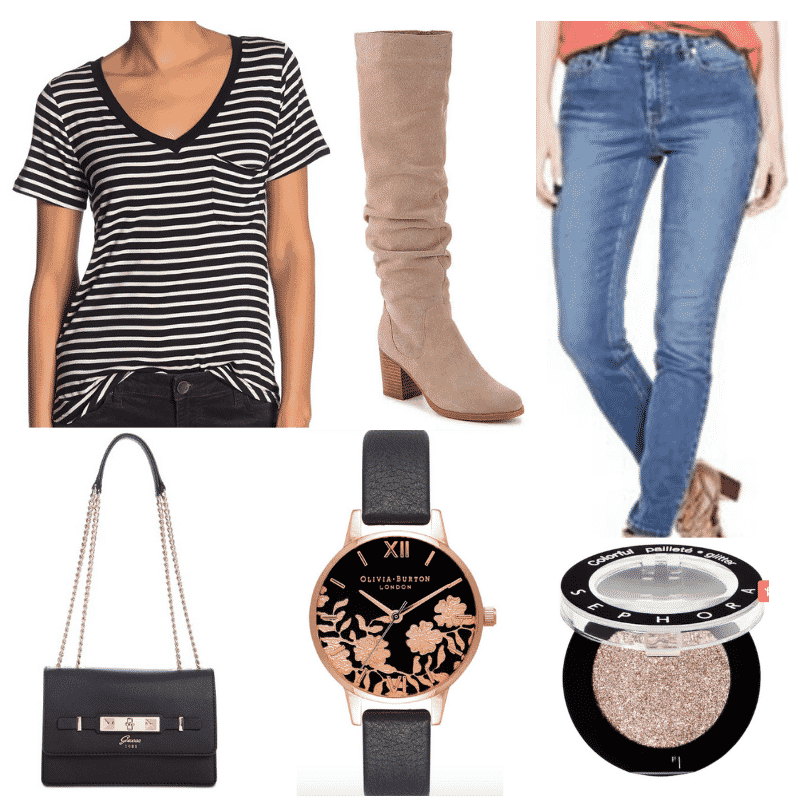 Striped t-shirt outfits: How to wear a striped tee shirt with suede boots, medium wash jeans, black chain strap purse, watch