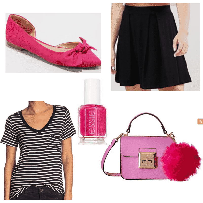 Striped t shirt outfits: Pom Pom Pink Outfit with black skirt, pink flats, black striped tee, pink bag