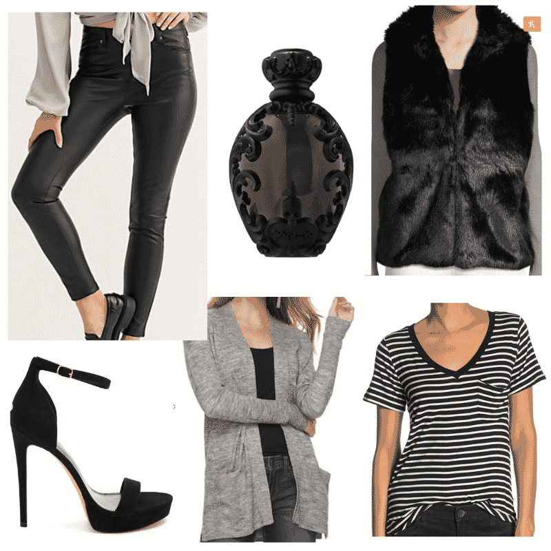 Striped t-shirt outfits: Cute outfit with  faux leather pants, faux fur vest, black t shirt, cardigan