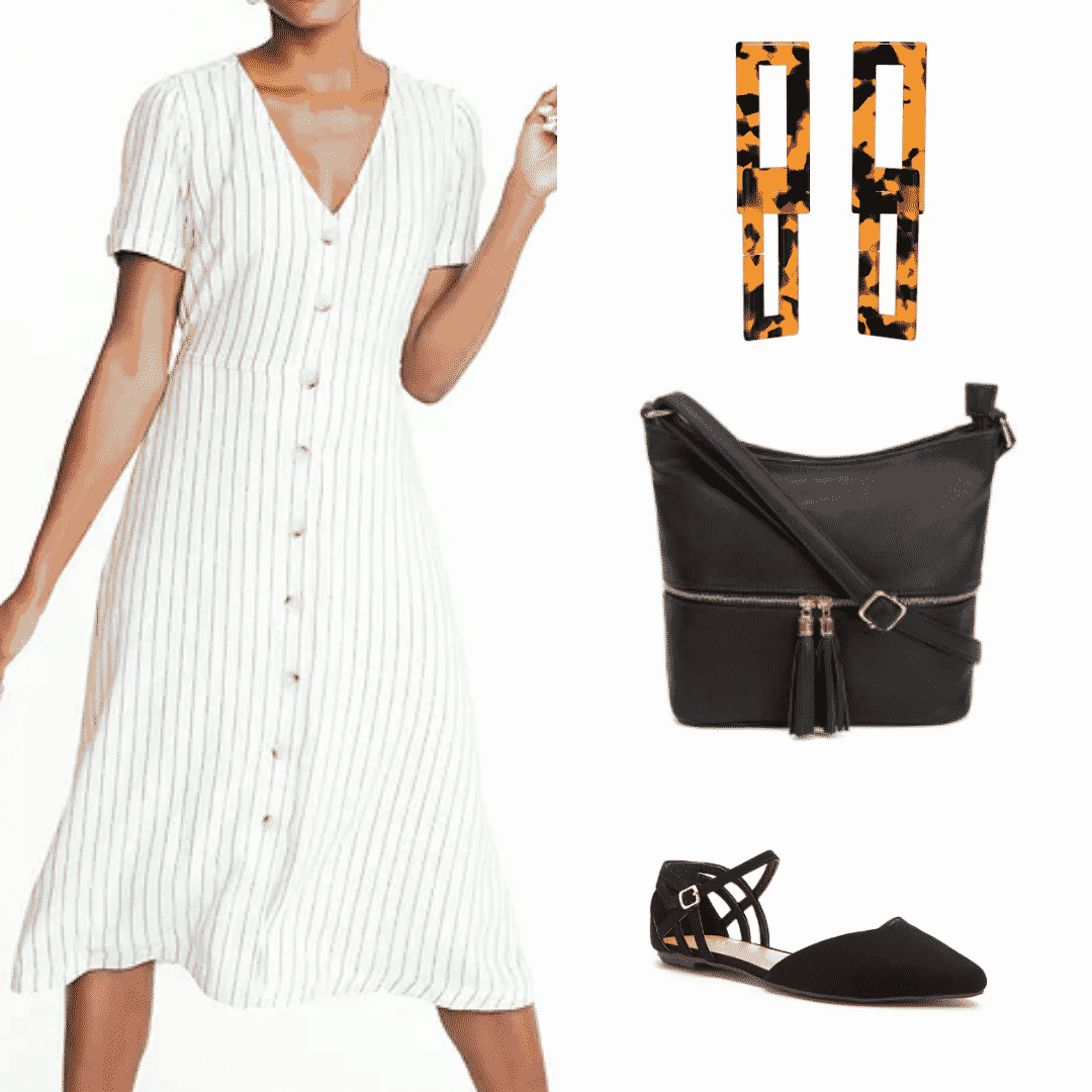 What to wear in China: Outfit with white striped dress, tortoise shell earrings, black cross-body bag, black nubuck flats