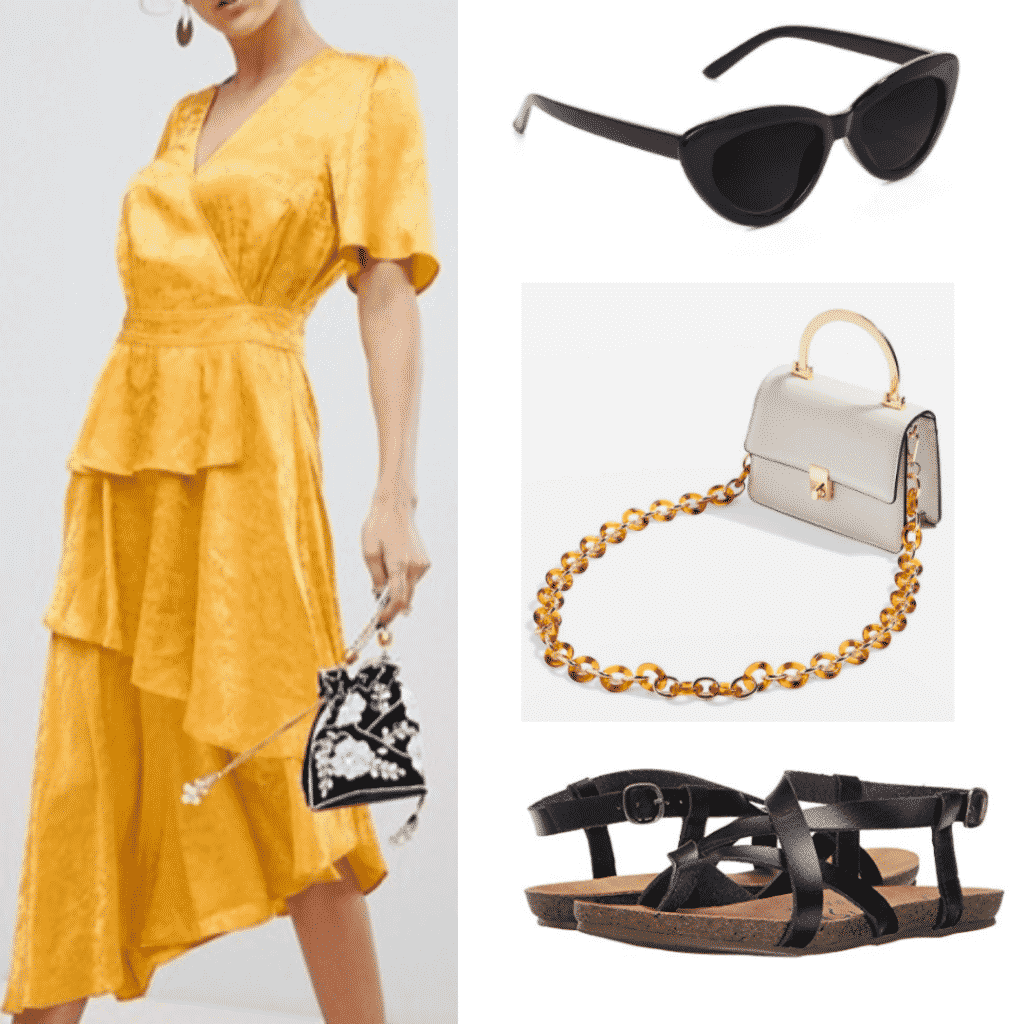 yellow ruffle dress, black cat eye sunglasses, tortoiseshell strap white handbag, black strappy sandals