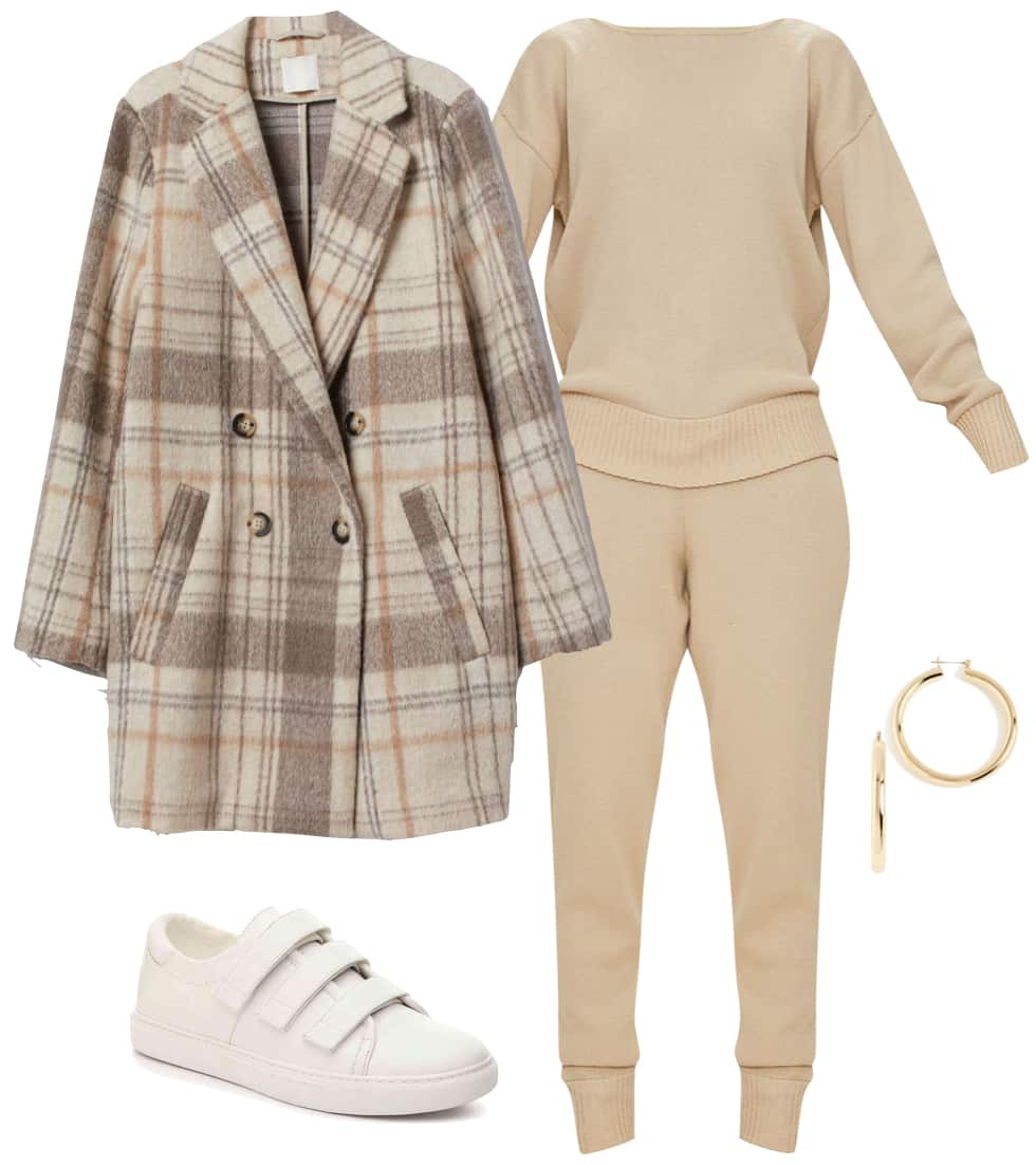 Hailey Baldwin Bieber Outfit: beige sweater and joggers set, white velcro sneakers, chunky gold hoop earrings, and beige plaid coat