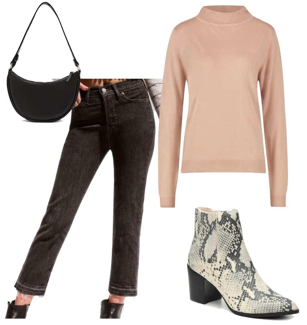 Kourtney Kardashian Outfit: washed black frayed jeans, beige turtleneck sweater, black shoulder bag, and snake print ankle booties