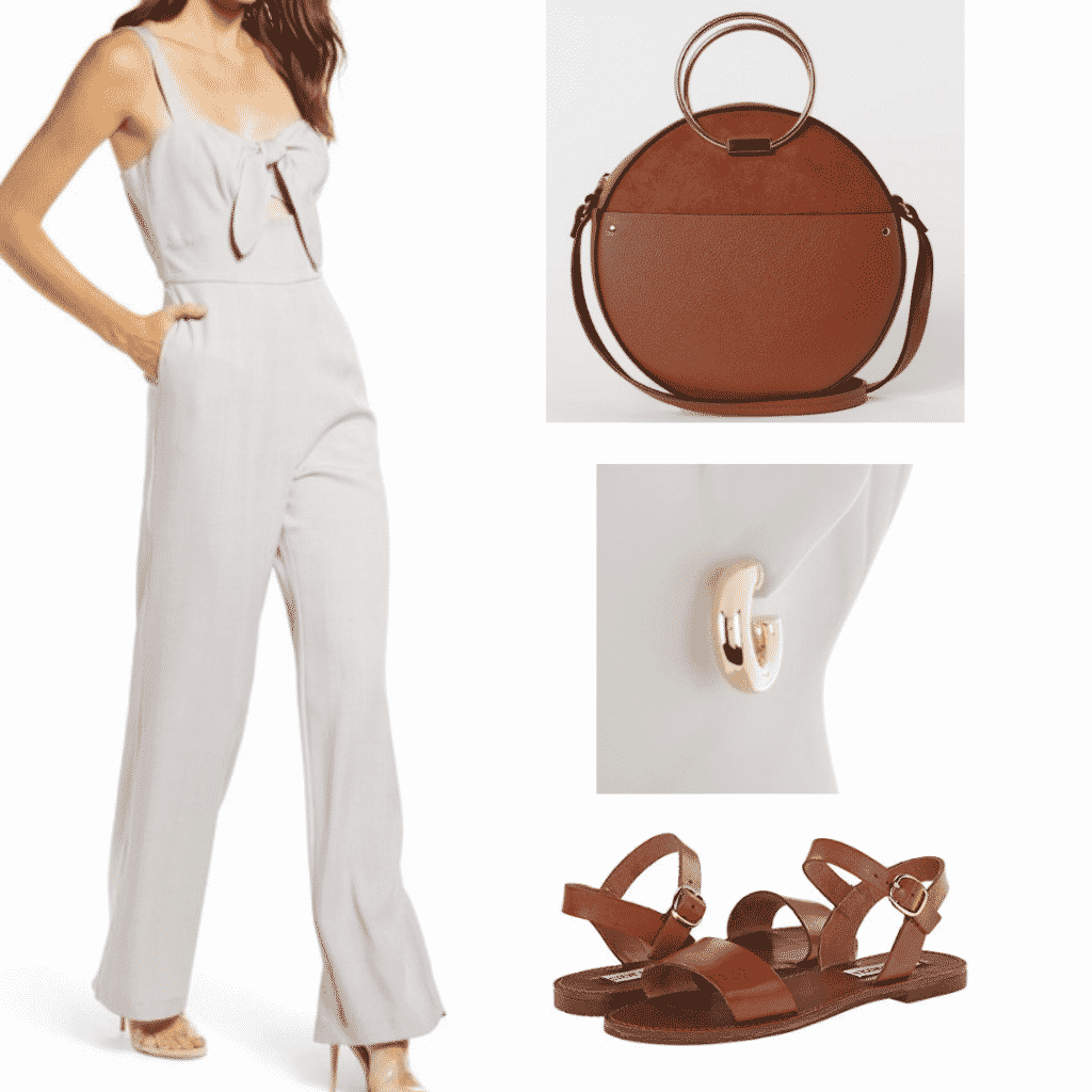 What to wear in Japan: Outfit idea for Kyoto with plaid jumpsuit, brown circle bag, gold hoops, brown sandals