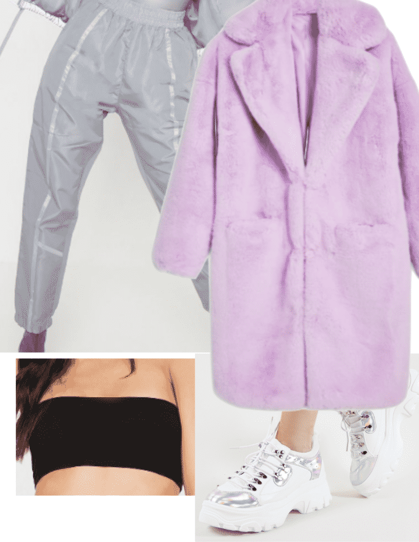 Ariana Grande 7 rings fashion - 7 rings style outfit with purple teddy coat, silver joggers, dad sneakers, black bandeau
