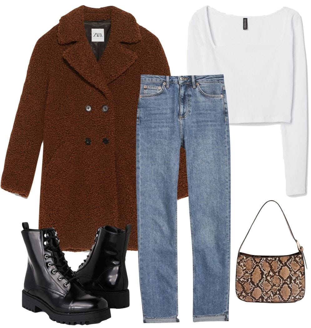 Madison Beer Outfit: brown long teddy coat, white square neck crop top, straight leg jeans, black lace up combat boots, and a snake print mini shoulder bag