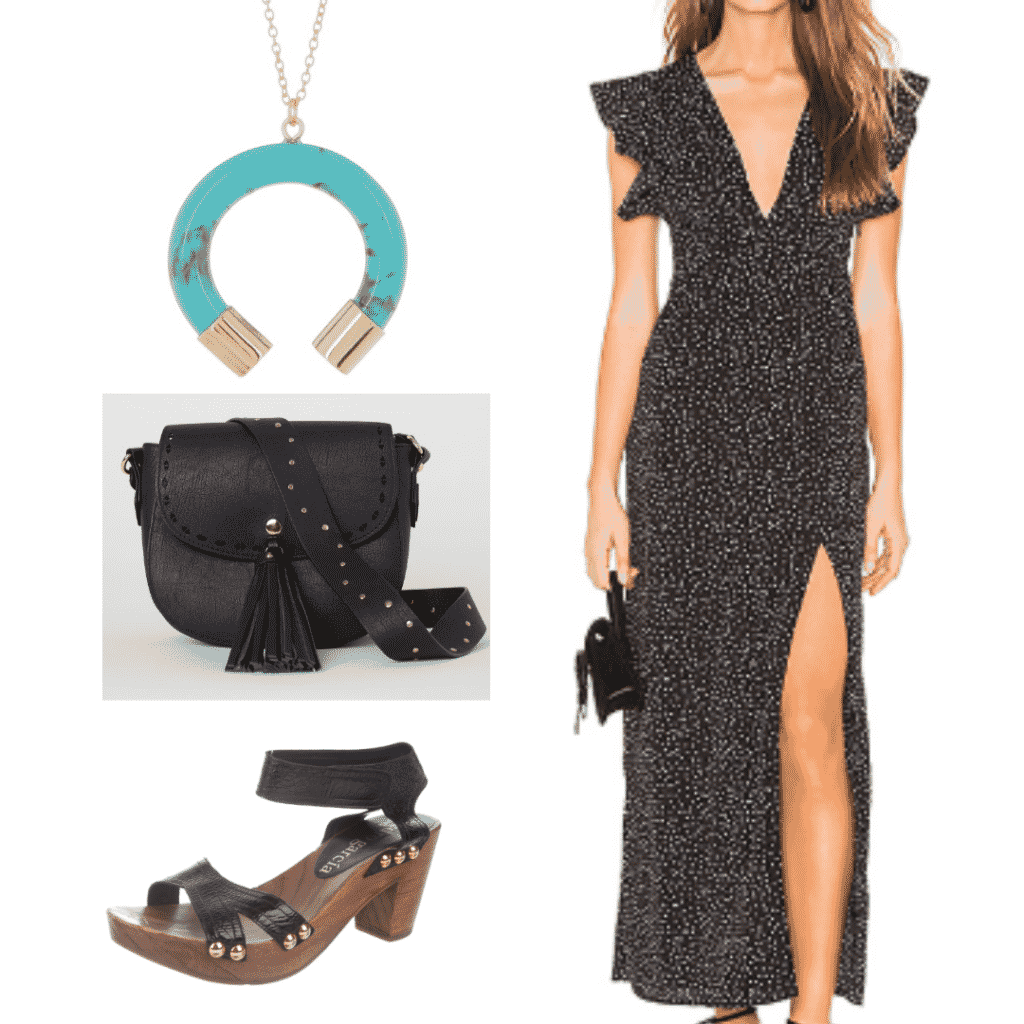 What to wear in spain - outfit to wear in Madrid with maxi dress, fringe shoulder bag, wooden heels