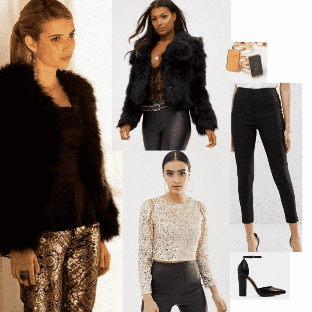 Madison Montgomery fashion: Outfit with black leather pants, faux fur coat, sequin top, black heels, rings