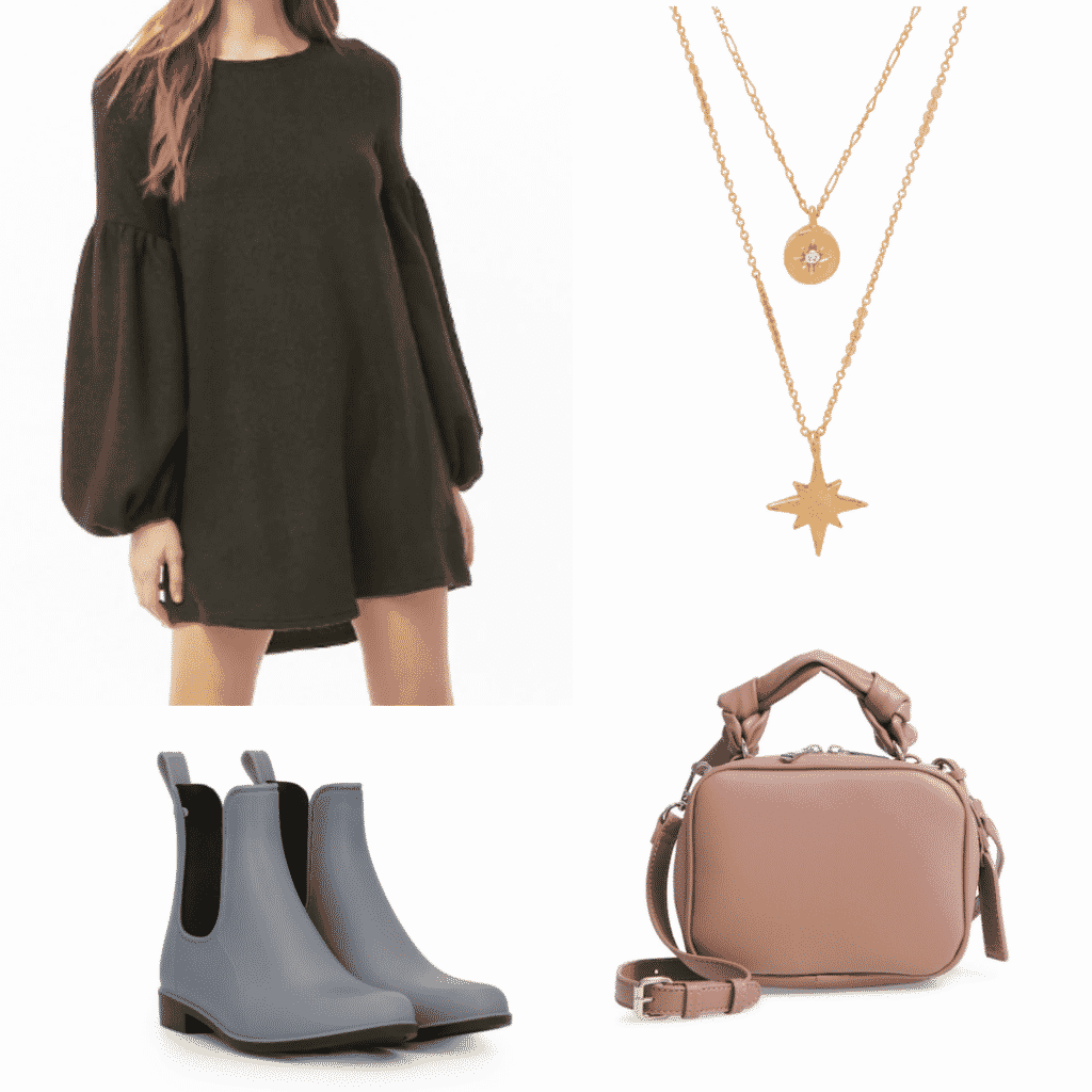 What to wear in Nara, Japan: Outfit idea with black dress, gray rain boots, gold necklace, pink camera bag