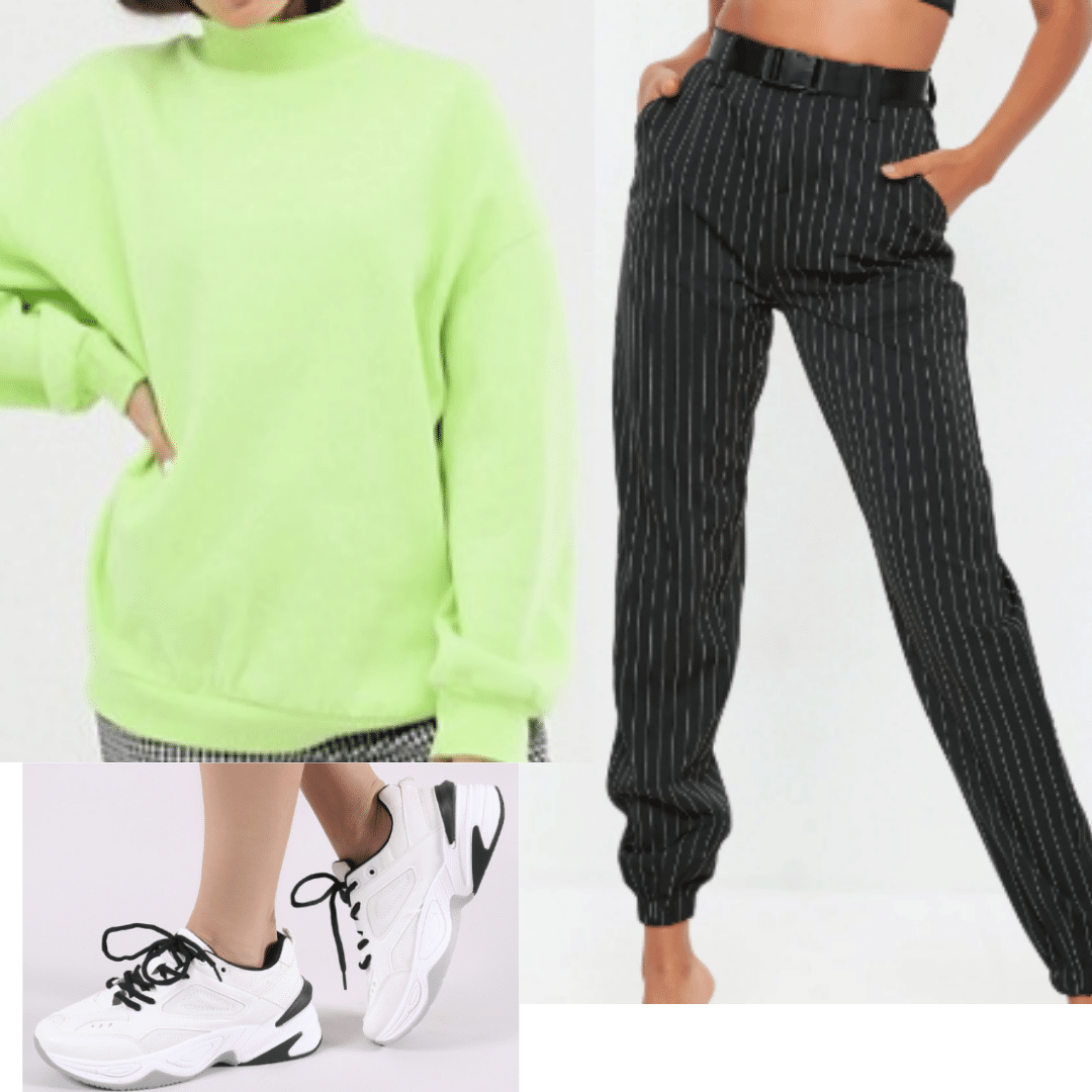 Neon Green Sweater paired with Black Pinstripe Joggers and White and Black Sneakers