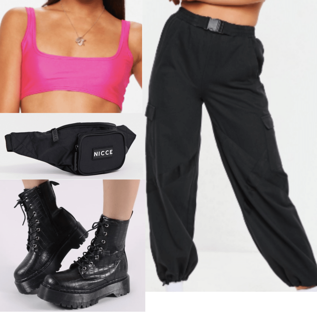 Pink bandeau crop top paired with black industrial joggers, a black fanny pack and black platform boots