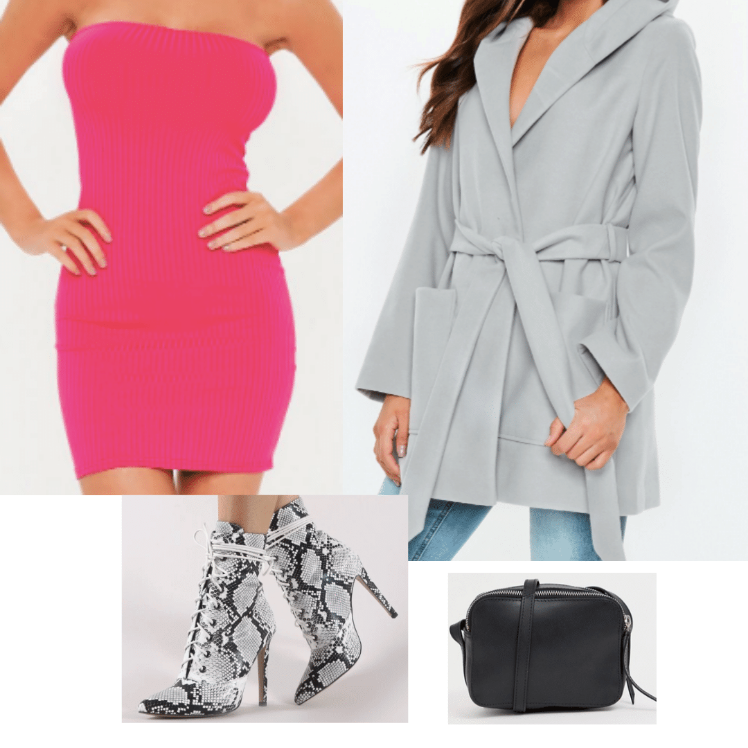 Neon pink strapless body-con dress paired with a grey tied coat, white snake skin heeled booties and a black messanger purse