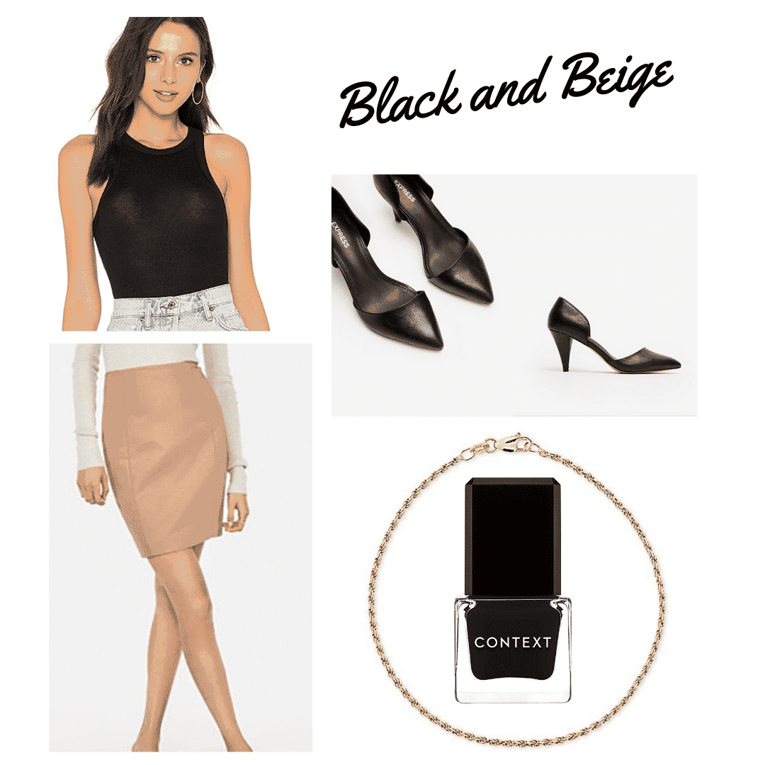 outfit panel with black tank top, tan pencil skirt, black pointed toe heels, black nail polish, and a gold bracelet.