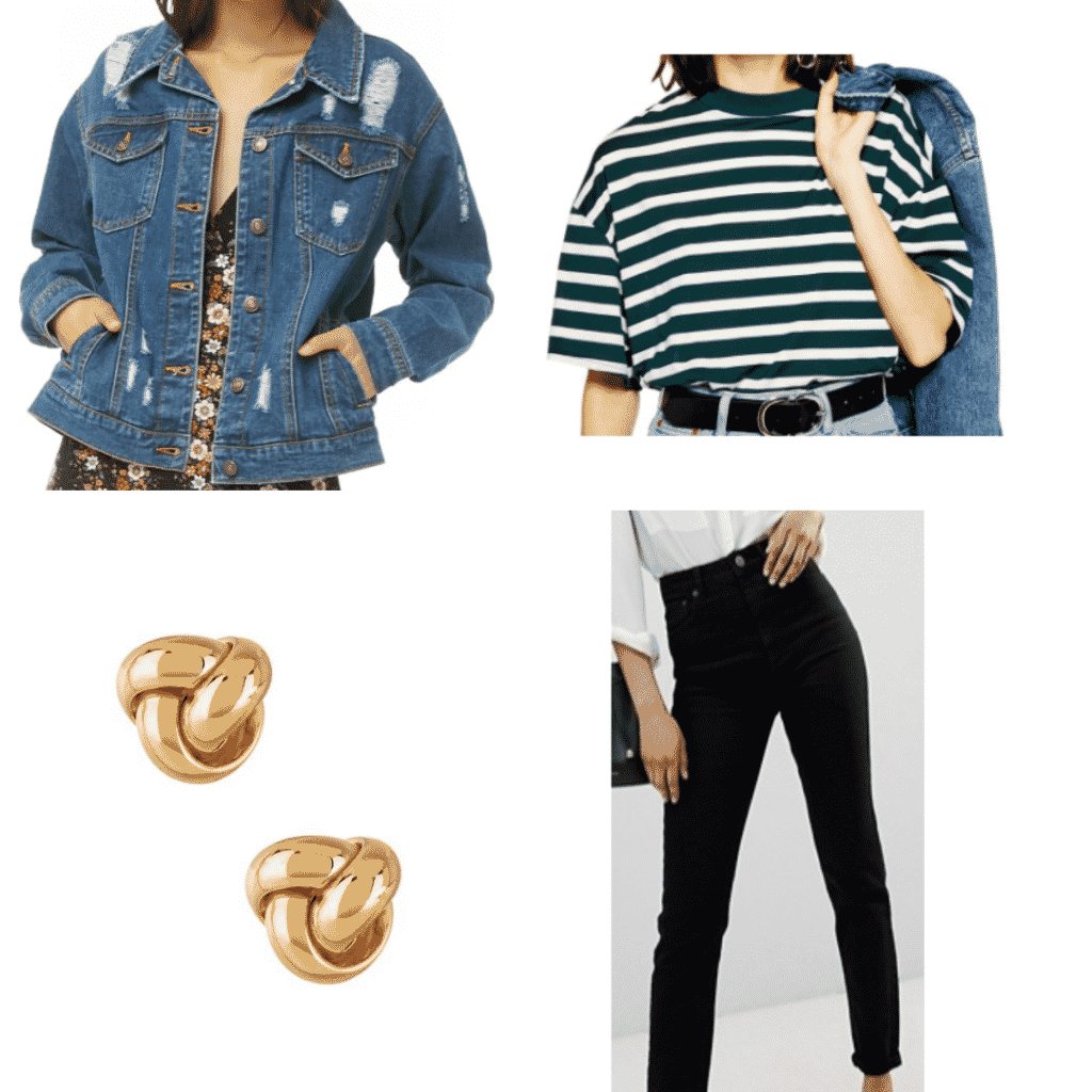 What to wear in Japan: Outfit idea with green striped top, denim jacket, black jeans, gold knot earrings