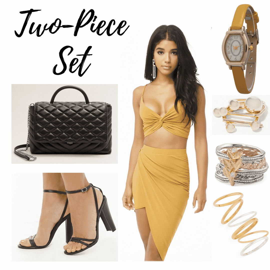 Paris Hilton 2000s style: outfit panel with a yellow two piece top and skirt, watch, gold rings, a black shoulder bag, and black heels.