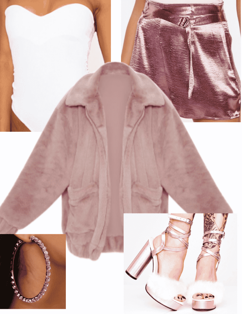 Ariana Grande 7 rings fashion - pink outfit with pink teddy coat, metallic pink skirt, white bodysuit, pink fur sandals