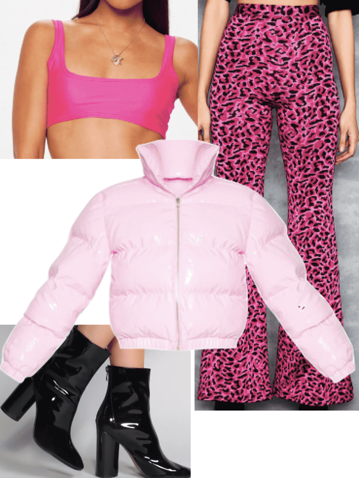 Ariana Grande 7 rings fashion - Pink outfit with neon pink crop top, leopard pants, pink puffer coat, vinyl boots