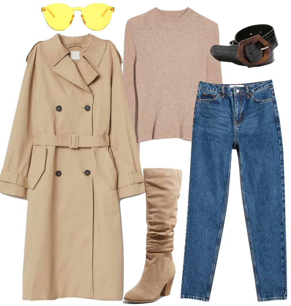 Priyanka Chopra Jonas Outfit: tan long trench coat, beige mock neck sweater, blue mom jeans, black and tortoise buckle belt, yellow rimless sunglasses, and beige knee high boots
