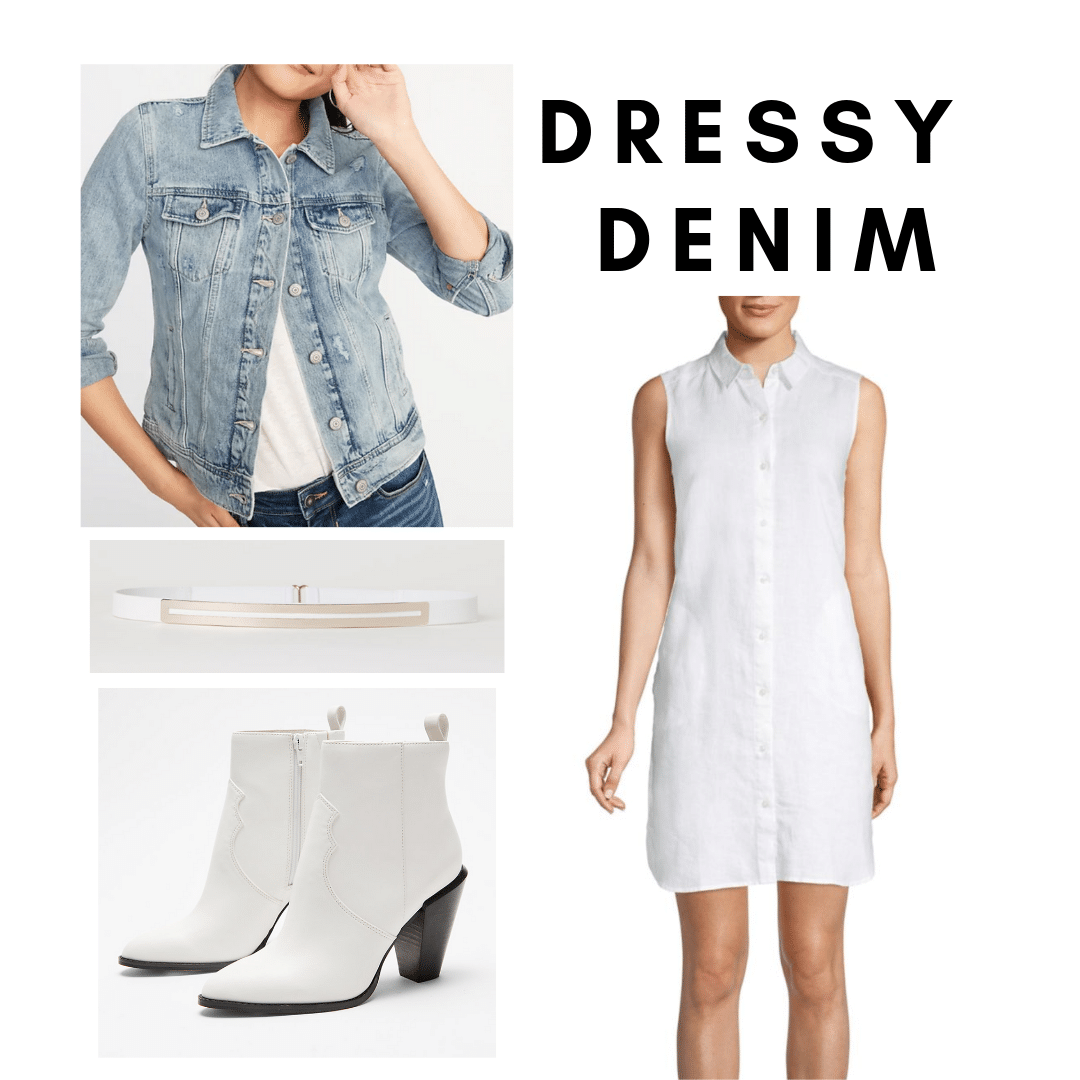 Sarah Jessica Parker 2000s style: Outfit with white shirdress, denim jacket, white boots
