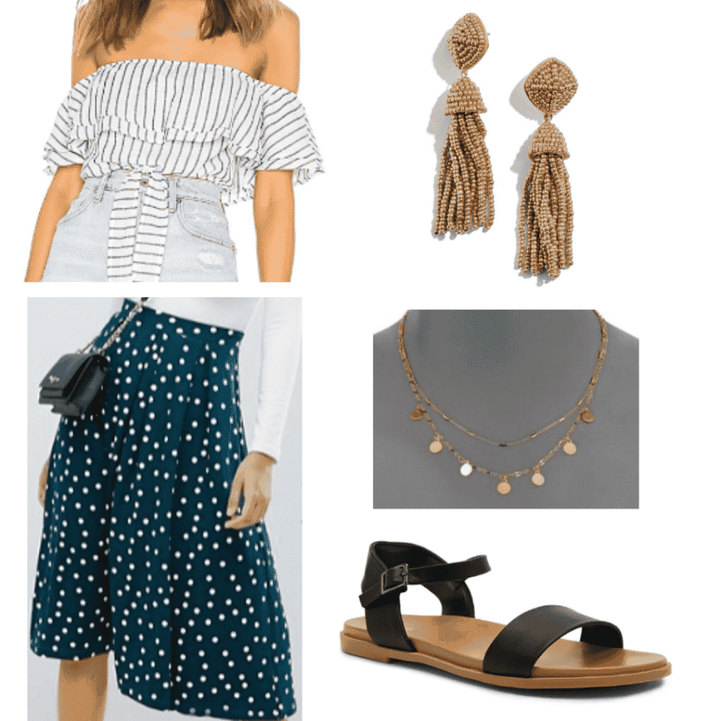 What to wear in Spain: Outfit for San Sebastian with printed midi skirt, off shoulder top, sandals, statement earrings