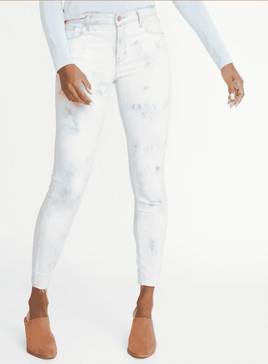 white tie dye skinny jeans