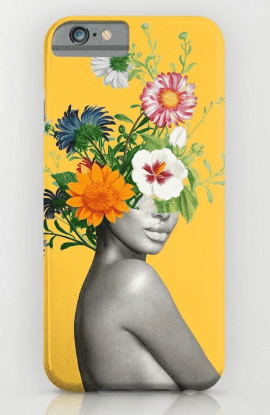 yellow phone case with a girl and flowers