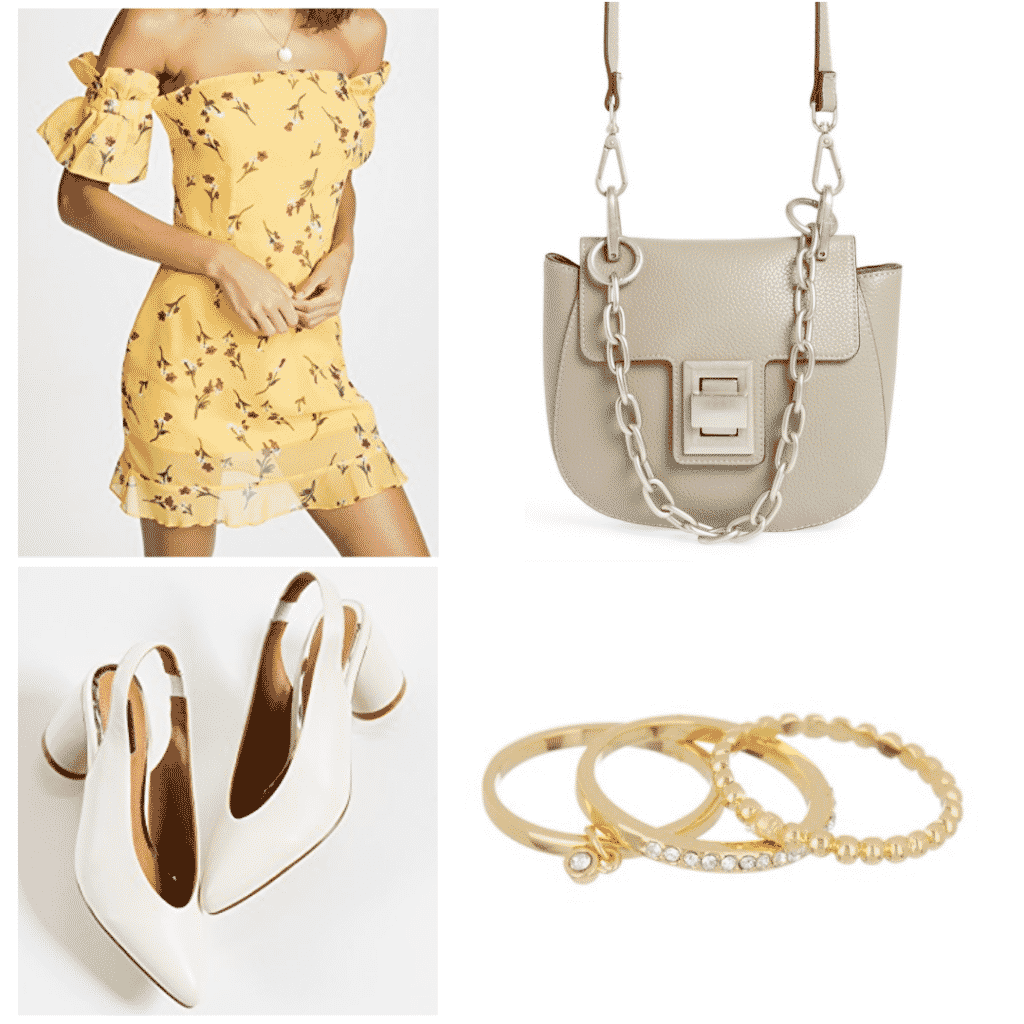 What to wear in Spain: Outfit with yellow dress, white heels, layered rings, chain purse