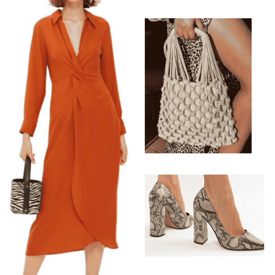 What to wear in Shanghai: Outfit with red-orange collared dress, knot purse, snake print heeled shoes