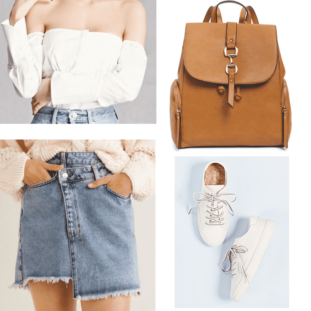 What to wear in China - outfit with white off-the-shoulder top, brown suede backpack, wrap denim skirt, white sneakers