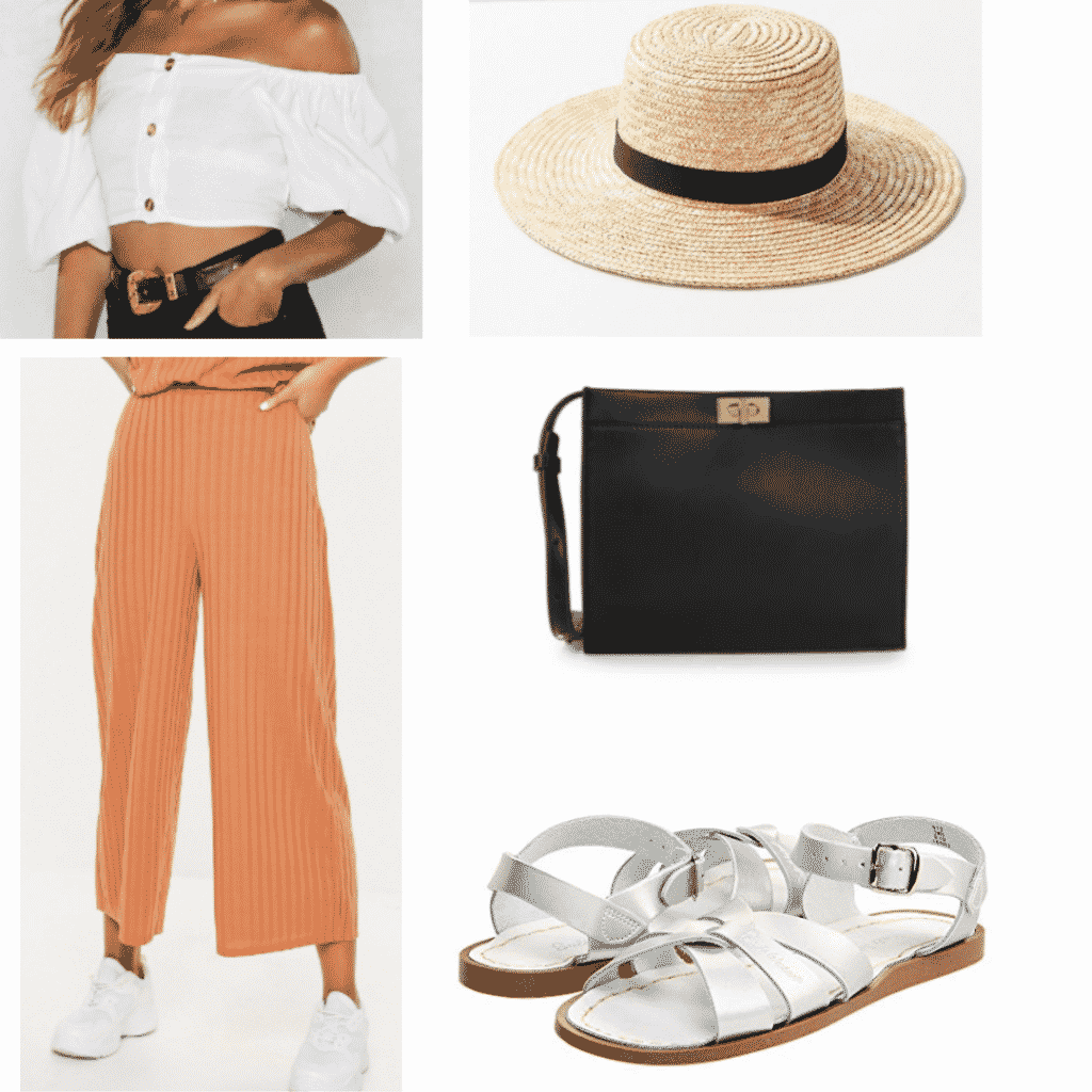 off the shoulder white top, straw hat, cream orange wide leg pants, black cross body bag, white sandals