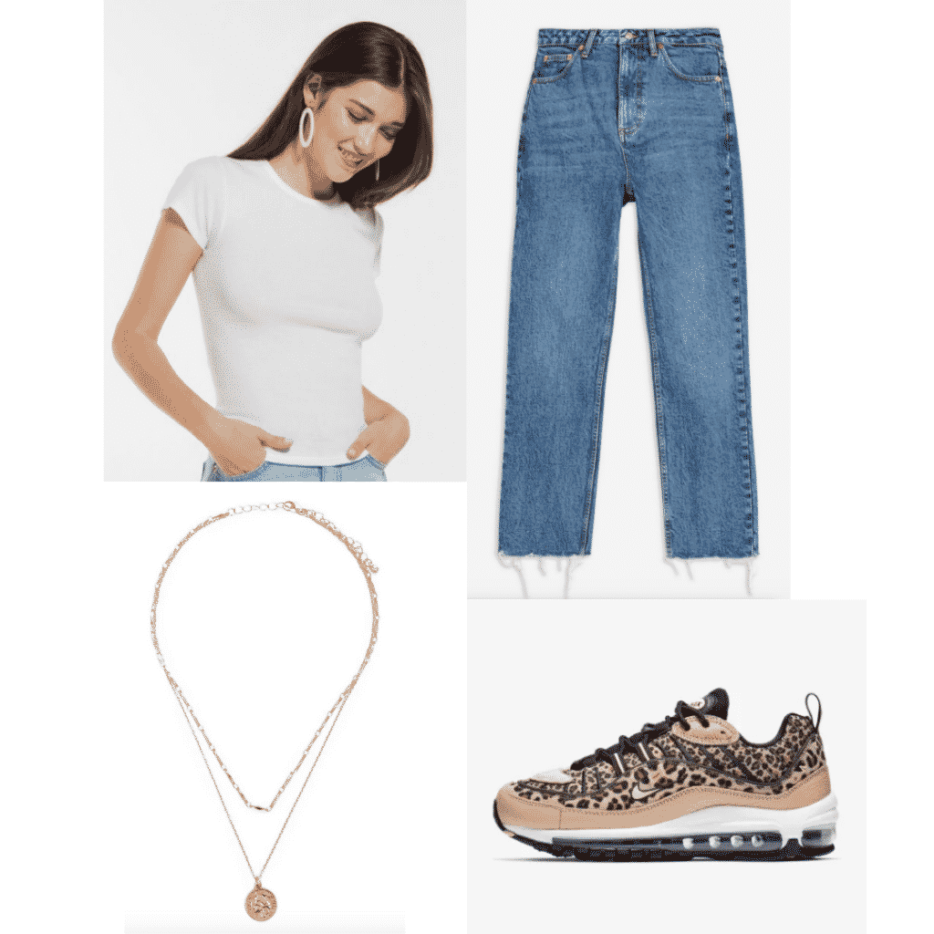 How to wear a t shirt fashionably: Outfit with white t-shirt, straight leg jeans, gold layered necklaces, leopard sneakers