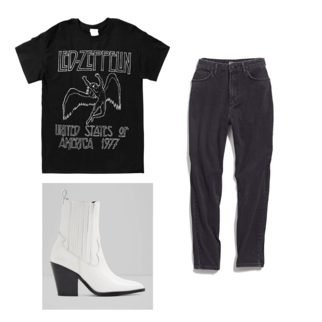 How to wear a t shirt fashionably: Outfit with band t shirt, mom jeans, white boots