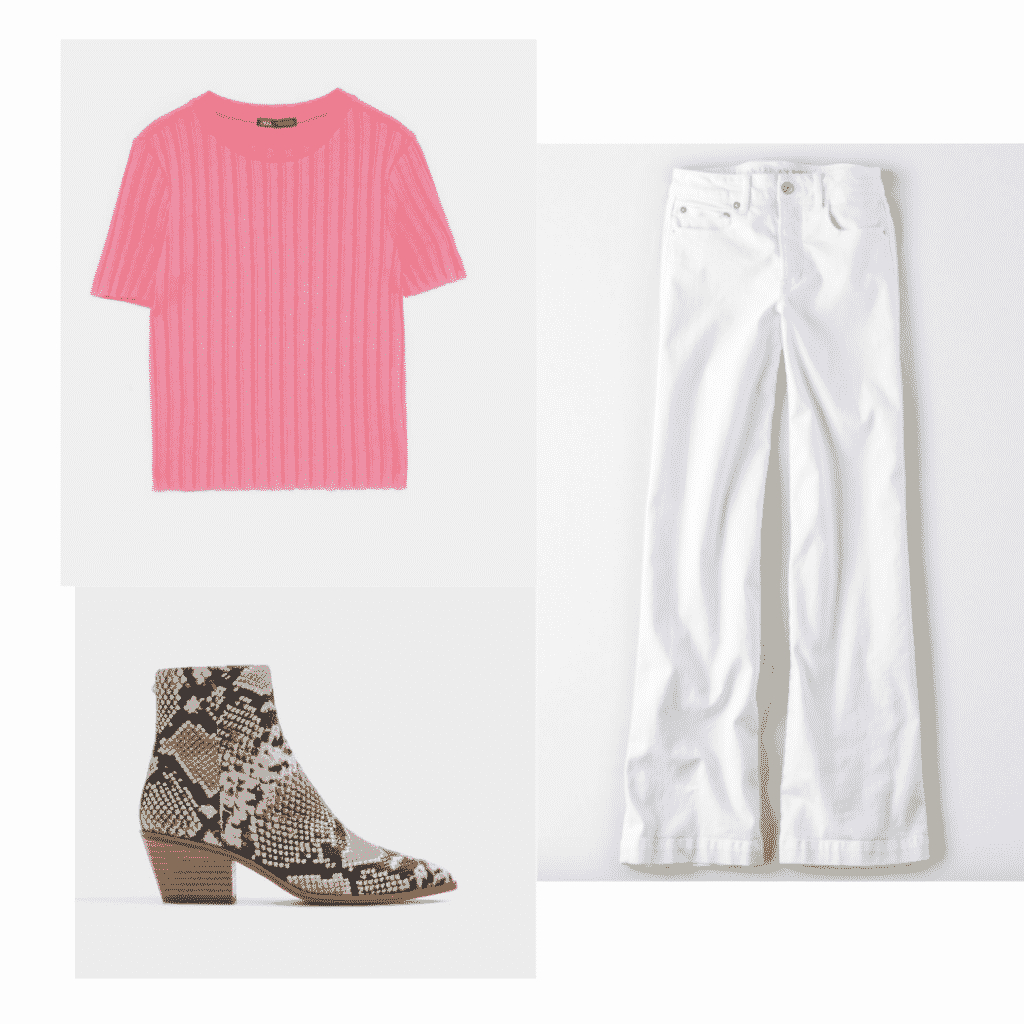 How to wear a t shirt fashionably: Outfit with neon t-shirt, snakeskin boots, white jeans