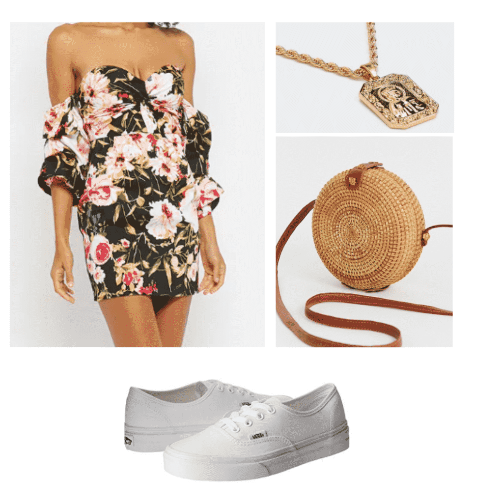 floral off the shoulder dress, wicker circle cross body bag, gold necklace, white vans sneakers