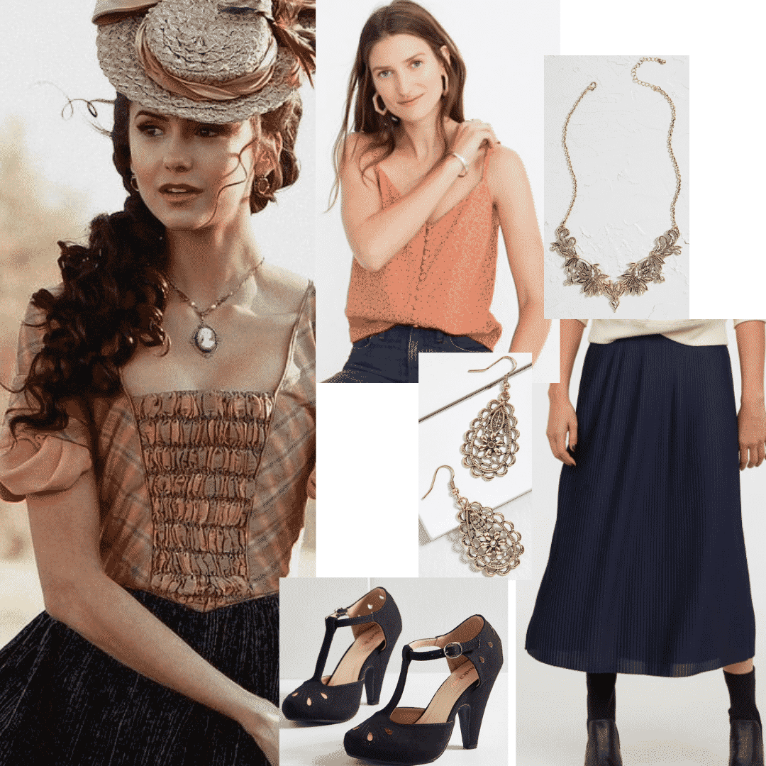 Katherine Pierce style - Outfit inspired by Katherine from The Vampire Diaries with vintage floral tank, midi skirt, detailed jewelry, t-strap heels