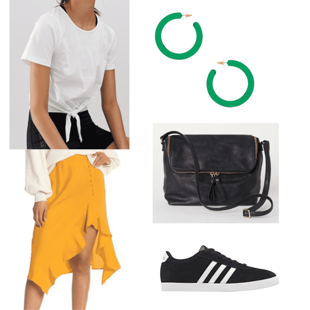 What to wear in Japan: Outfit idea with white tie shirt, green hoop earrings, yellow asymmetrical skirt, black shoulder bag, black sneakers