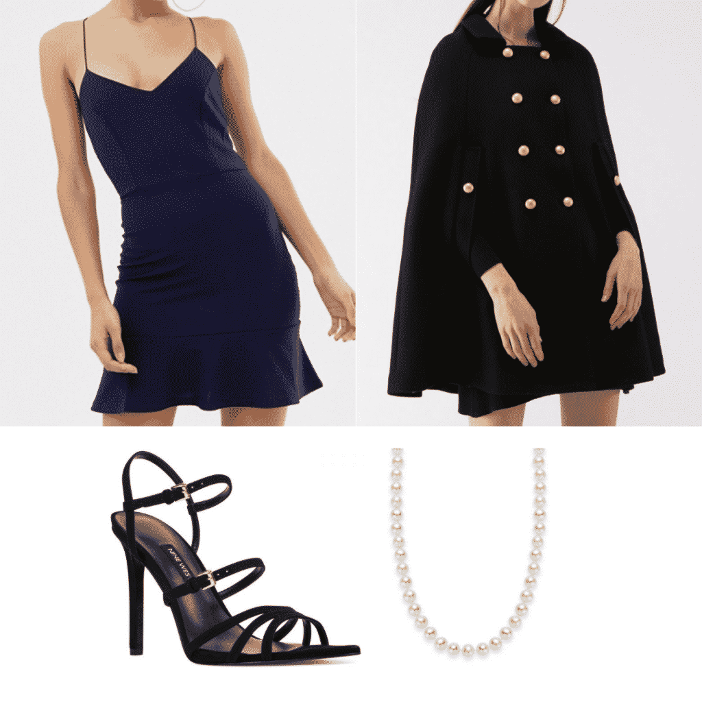 Veronica Lodge style outfit with cape coat, blue dress, pearls