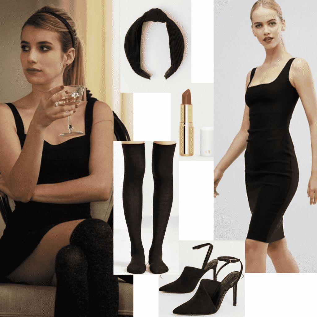 Madison Montgomery style outfit with little black dress, black heels, over-the-knee socks, and a black headband