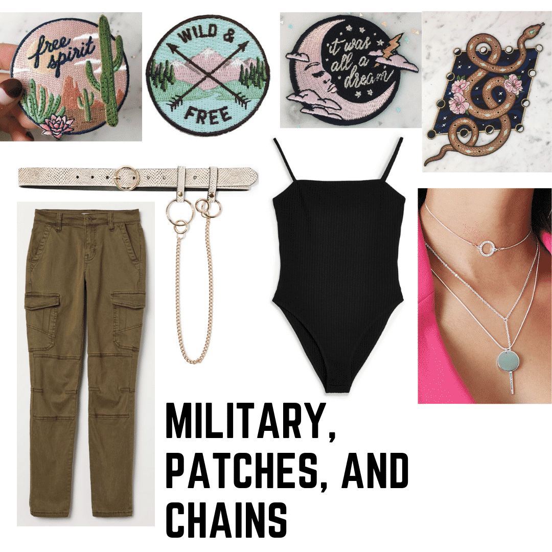 Christina Aguilera 2000s style: outfit with military green pants, patches, a chained belt, bodysuit, and necklaces.