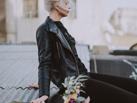Girl wearing a leather jacket