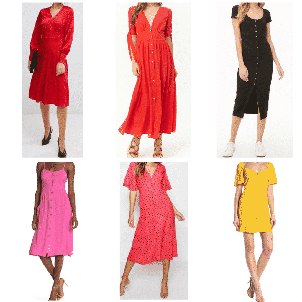 Button Front Dresses: Silk Dress, Pink Sun Dress, Midi Dress, Flounce Sleeve Dress, Black Dress, Yellow Mini Dress
