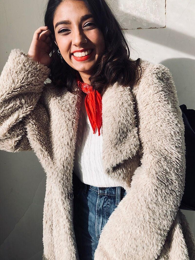 Student Anusha wears a faux fur teddy coat