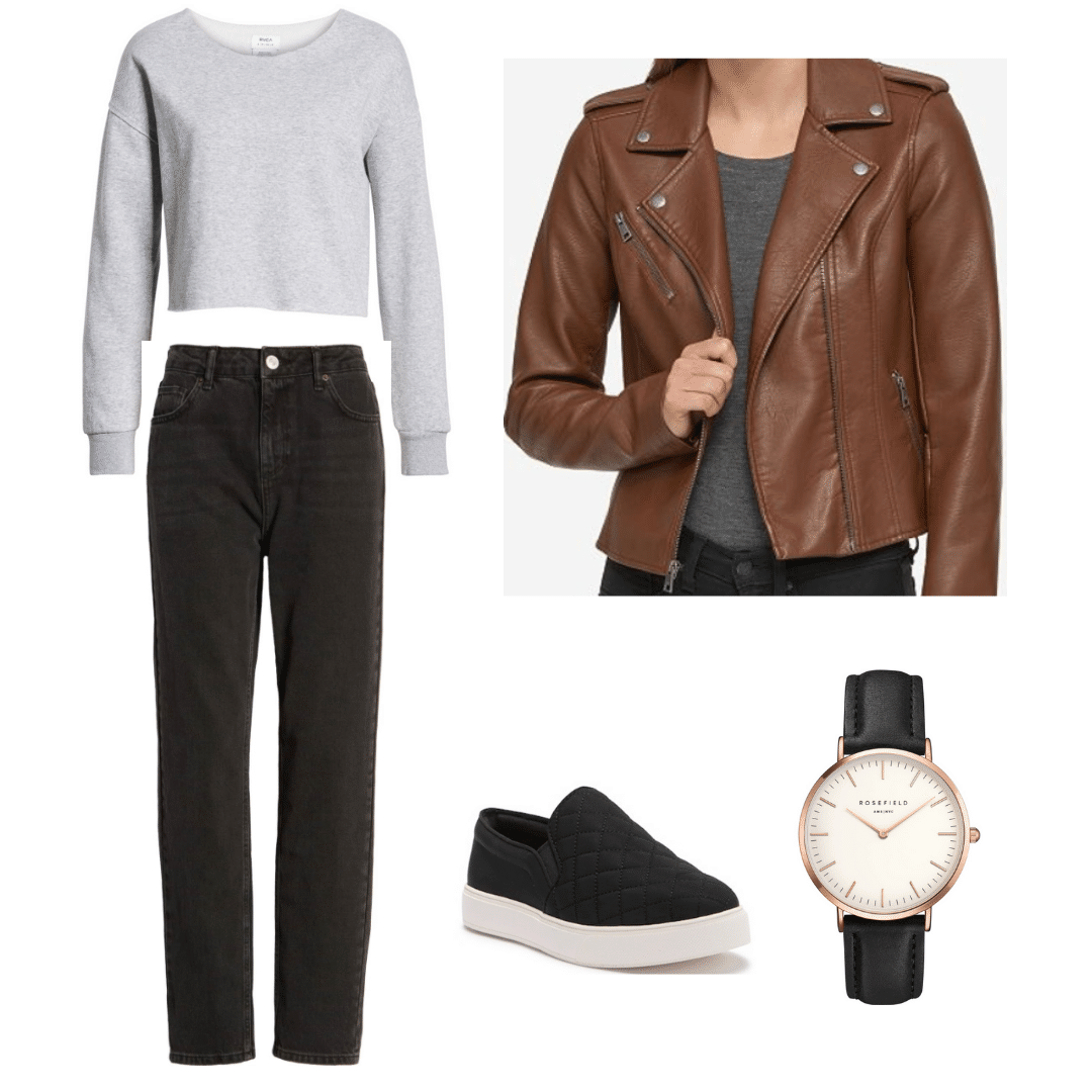 Outfit inspired by the TV show Arrow: Gray sweatshirt, washed black jeans, brown moto jacket, slip on sneakers, black leather watch
