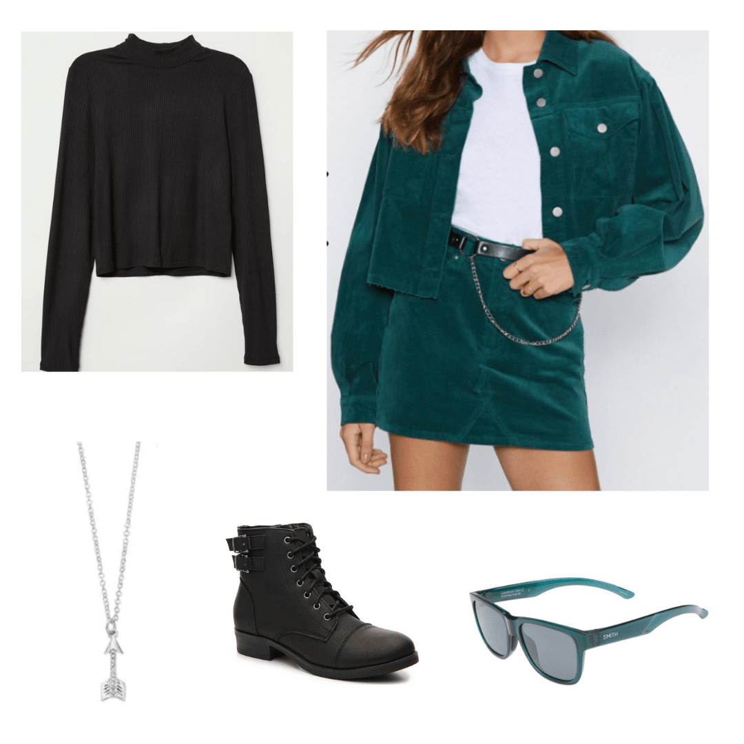 Outfit inspired by the TV show Arrow: Green two piece corduroy set, black turtleneck, combat boots, green sunglasses