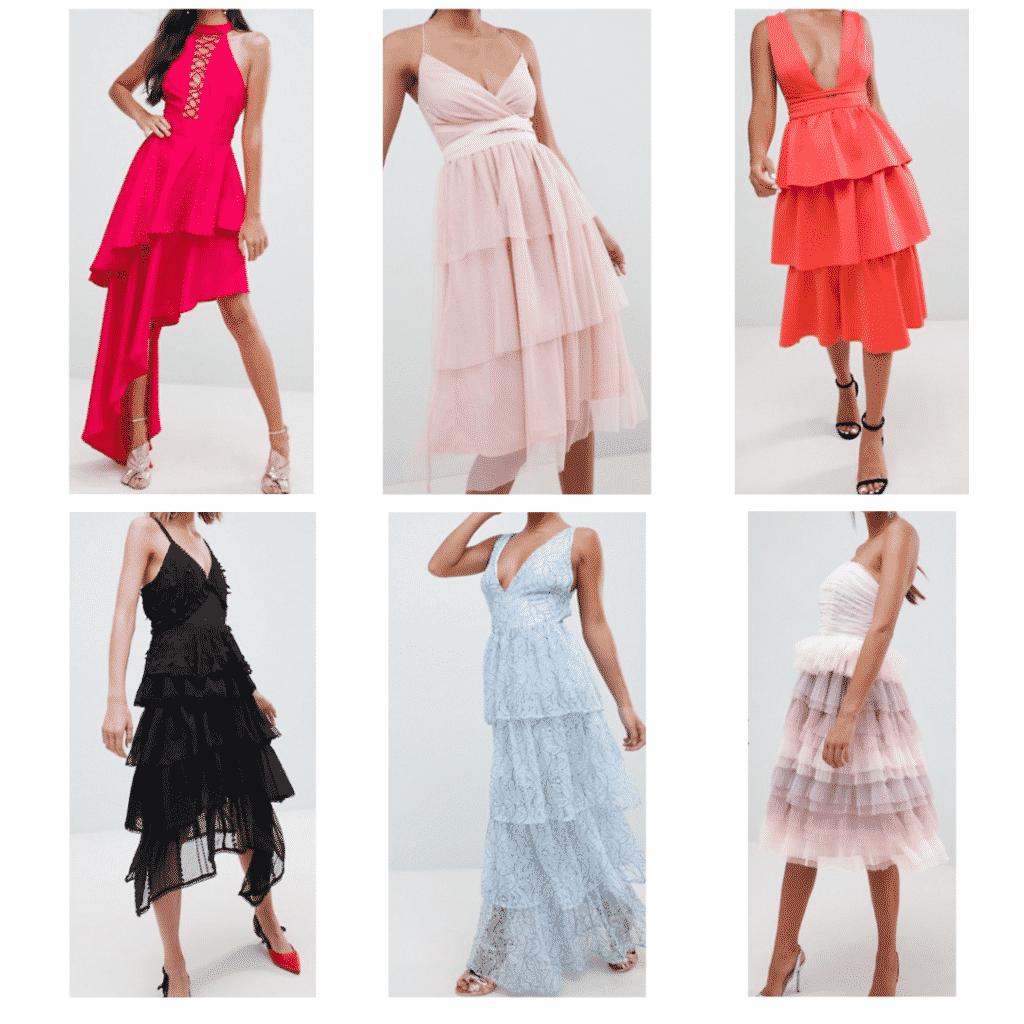 Tiered Dresses: Asymmetrical Dress, Black Dress, Tulle Dress, Blue Maxi dress, V Neck Dress, Tulle Layered Dress