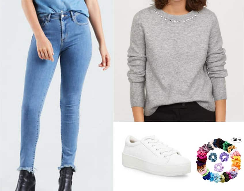 Casual Betty Cooper outfit - jeans, gray sweater, white sneakers, scrunchie