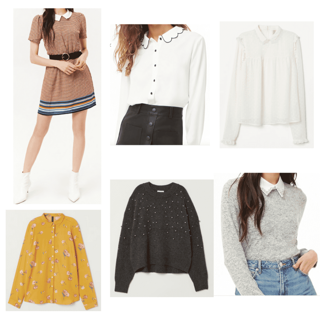 Betty Inspired Outfits: Collared Dress, Collared Floral Shirt, Scalloped Collared Shirt, Pearl Sweater, Collared Blouse, Collared Sweater