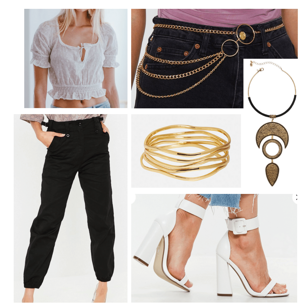 Beyonce inspired outfit with Girly peasant top, white strappy heels, gold jewelry, black harem pants, and a chain belt