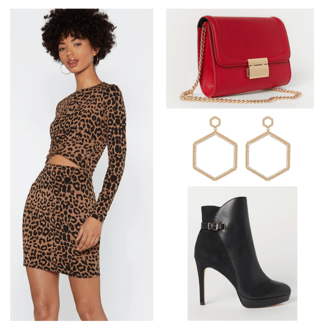 Outfit inspired by Beyonce in the 2000s with leopard print two piece set, gold earrings, red bag, and black stiletto boots